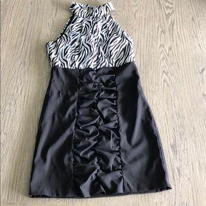Alum Paige black zebra dress black white